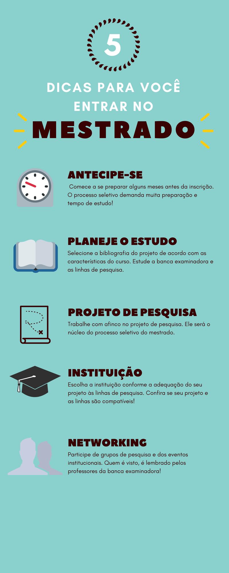 infográfico - dicas para entrar no mestrado